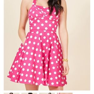 ModCloth Traveling Cupcake Pink Polka Dot Dress M